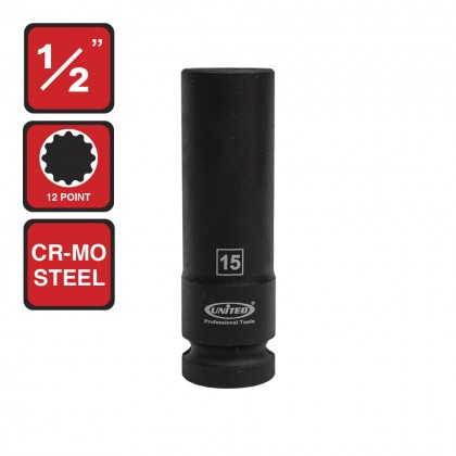 "US-448315   1/2"" DEEP SOCKET 15MM 12PT"