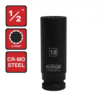 "US-448318   1/2"" DEEP SOCKET 18MM 12PT"