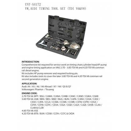 UNT-A4172VW, AUDI TIMING TOOL SET  (TDI V6 & V8) (A4, A5, A6, A8, Q5, Q7)